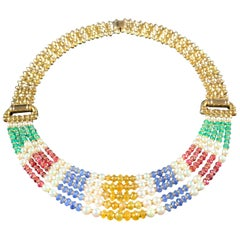18 Carat Gold Five-Row Sapphire, Ruby, Emerald and Pearl Necklace