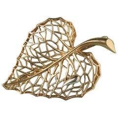 18 Carat Gold French Leaf Brooch