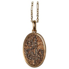 18 Carat Gold French Locket with a Diamond A Initial