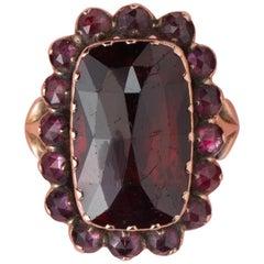 18 Carat Gold Georgian Ring with Garnets