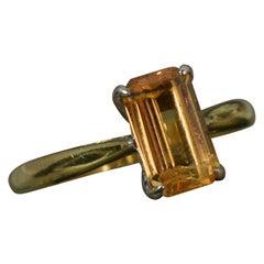 18 Carat Gold Golden Topaz Solitaire Engagement Ring