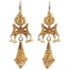 18 Carat Gold Granulation Technique and Filigrée Work Earrings, circa 1790