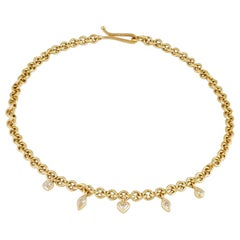 18 Carat Gold Handmade Chain with Mixed Cut Diamond Charms 1.70 Carat