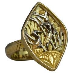 18 Carat Gold Heron Japanese Design English Statement Ring