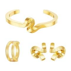 18 Carat Gold Interstellar Bangle, Earrings, Necklace Suite