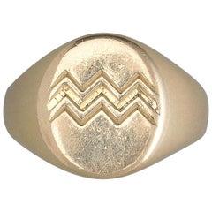 18 Carat Gold Jean Després Aquarius Zodiac Ring