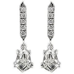 18 Carat Gold Kite Shaped and Brilliant Cut Diamond Articulated Drop Earrings
