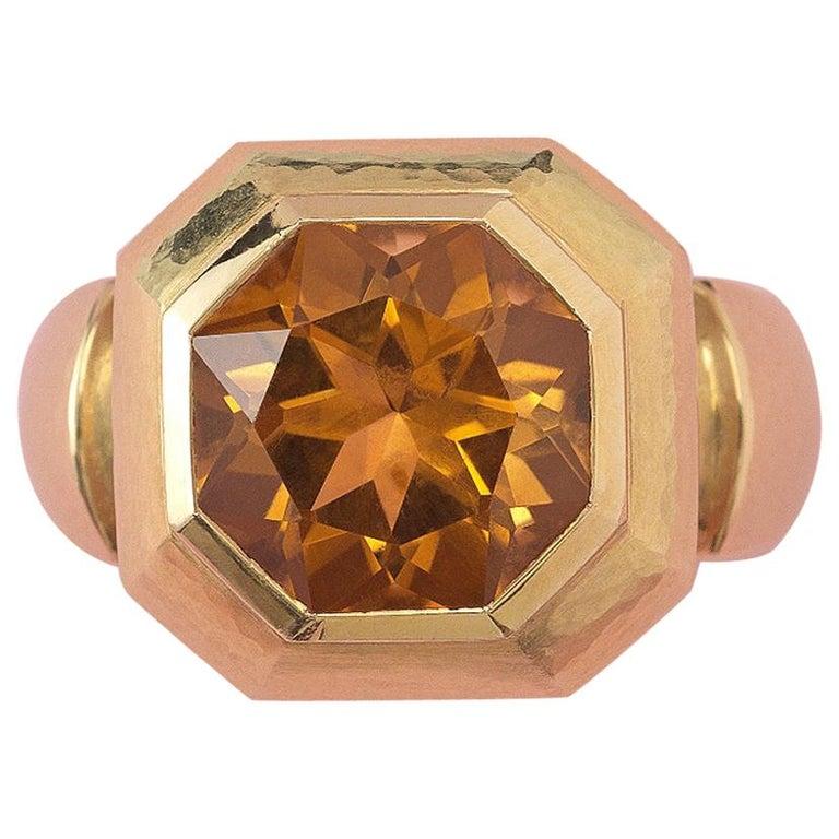 18 Carat Gold Leo de Vroomen Ring with Citrine For Sale