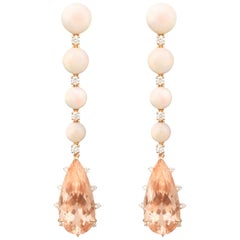 18 Carat Gold, Morganite, Opal and Diamond Earrings