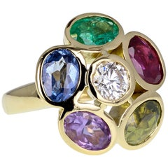 18 Carat Gold Multi Gem Diamond Fancy Cocktail Cluster Ring