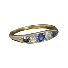 18 Carat Gold Old Cut Diamond Sapphire Five-Stone Boat Ring