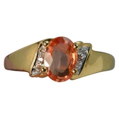 18 Carat Gold Orange Padparadscha Sapphire Diamond Ring