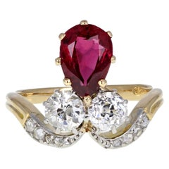 18 Carat Gold Pear Shape Ruby Diamond 'Fleur de Lis' Style Cluster Ring