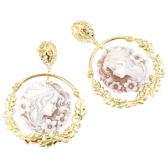 18 Carat Gold-Plated 925 Sterling Silver Sea Shell Cameo Earrings