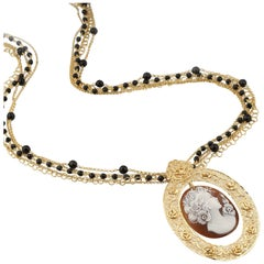 18 Carat Gold-Plated 925 Sterling Silver Sea Shell Cameo Necklace