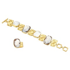 18 Carat Gold-Plated 925 Sterling Silver Sea Shell Cameos Ring Bracelet Set