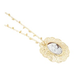 18 Carat Gold-Plated 925 Sterling Silver Sea Shell with Cameo Necklace