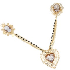 18 Carat Gold-Plated 925 Sterling Silver with 3-Piece Sea Shell Cameos Brooch