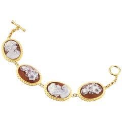 18 Carat Gold-Plated 925 Sterling Silver with 4 Pcs Sea Shell Cameos Bracelet