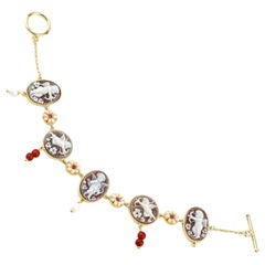 18 Carat Gold Plated 925 Sterling Silver with Sea Shell Cameos Bracelet