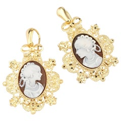 18 Carat Gold-Plated 925 Sterling Silver with Sea Shell Cameos Earrings