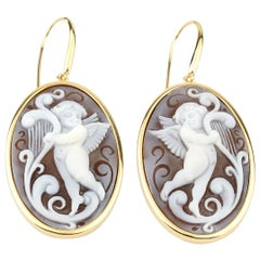 18 Carat Gold Plated 925 Sterling Silver with Sea Shell Cameos Earrings