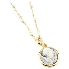 18 Carat Gold Plated 925 Sterling Silver with Sea Shell Cameos Necklace