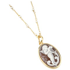 18 Carat Gold-Plated 925 Sterling Silver with Sea Shell Cameos Necklace