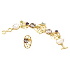 18 Carat Gold Plated 925Sterling Silver SeaShell Cameos Ring Bracelet Set