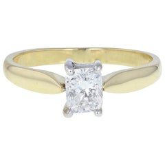 18 Carat Gold Radiant Cut 1 Carat Diamond Solitaire Engagement Ring