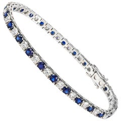 18 Carat Gold Round Ceylon Sapphire and Brilliant Cut Diamond Tennis Bracelet