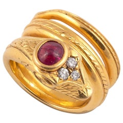 18 Carat Gold Ruby and Diamond Snake Ring