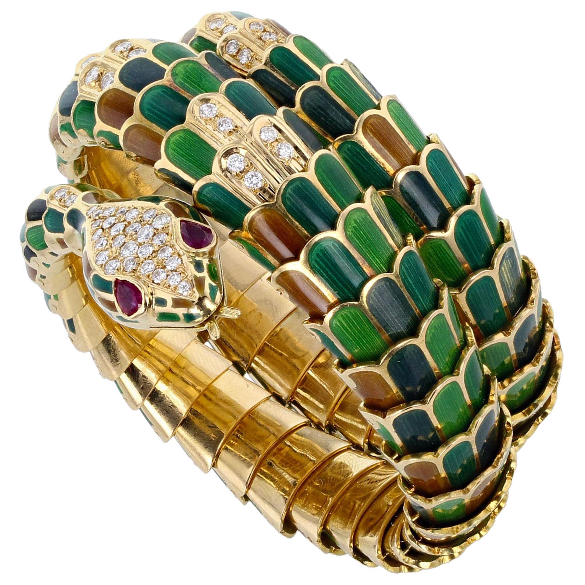 18 Carat Gold Ruby Diamond Enamel Serpent Snake Bangle Bracelet