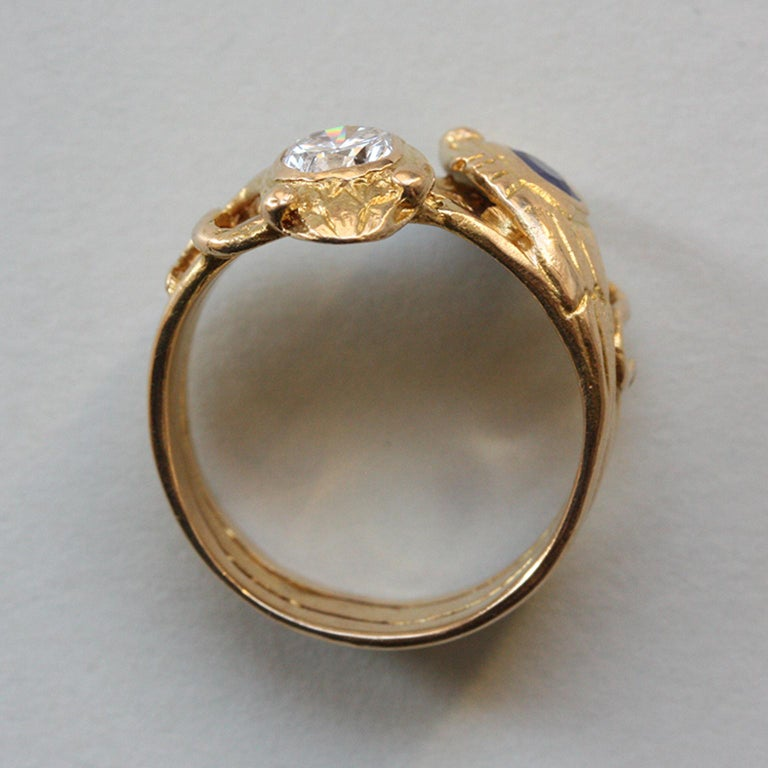 Edwardian 18 Carat Gold Sapphire and Diamond Double Snake Ring For Sale