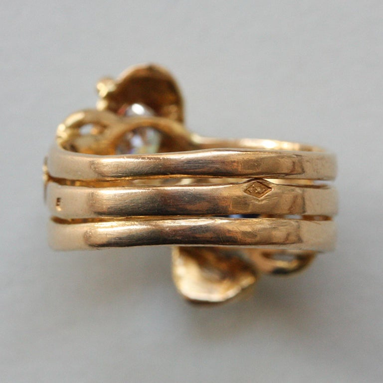 18 Carat Gold Sapphire and Diamond Double Snake Ring In Good Condition For Sale In Amsterdam, NL