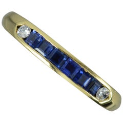 18 Carat Gold Sapphire and Diamond Half Eternity Stack Ring