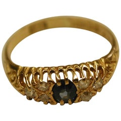 18 Carat Gold Sapphire and Diamond Ring, Dated 1905
