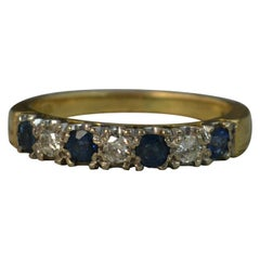 18 Carat Gold Sapphire and Diamond Stack Half Eternity Ring