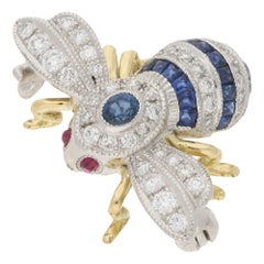 Sapphire and Diamond Bee Brooch in 18 Carat Gold