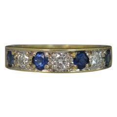 18 Carat Gold Sapphire Diamond Stack Half Eternity Ring