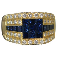 18 Carat Gold Sapphire VS 1.3 Carat Diamond Signet Ring