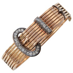 18 Carat Gold, Silver and Diamond Buckle Bracelet