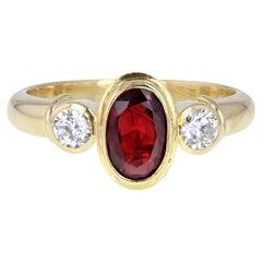 18 Carat Gold Vintage Oval Ruby Diamond Three-Stone Trilogy Ring