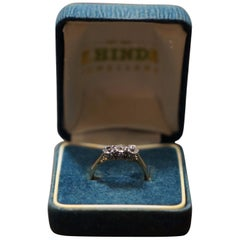18-Carat Gold with Platinum Mounts 3 Stones Diamond Ring One Stone Swaped