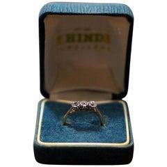 18 Carat Gold with Platinum Mounts 3 Stones Diamond Ring One-Stone Swaped