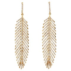 18 Carat Handcrafted Feather Earrings with 3 Carat of Diamonds