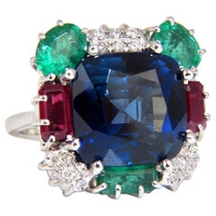 18 Carat Lab Sapphire Natural Emerald Ruby Diamonds Ring 18 Karat