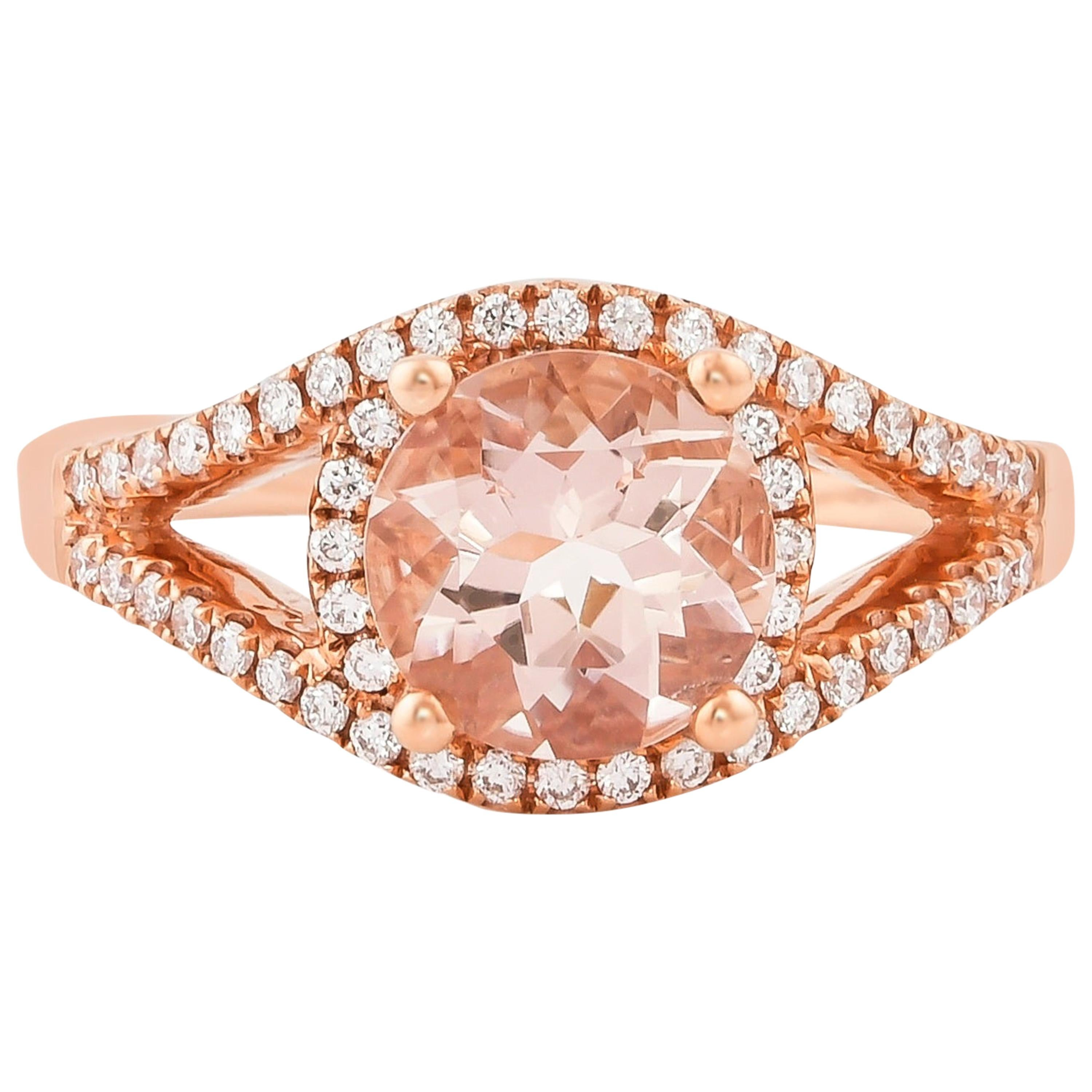 1.8 Carat Morganite and Diamond Ring in 18 Karat Rose Gold