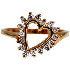 .18 Carat Natural Diamonds Heart Ring 14 Karat Petite Classic