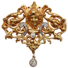 18 Carat Neo Renaissance Brooch with Diamonds